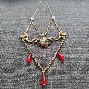 Jewelmint Pink Dahlia Triangle Necklace (NWOB)